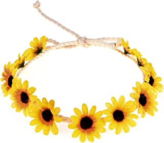 Floral Fall Sunflower Crown Hair Wreath Bridal Headpiece Festivals Hair Band