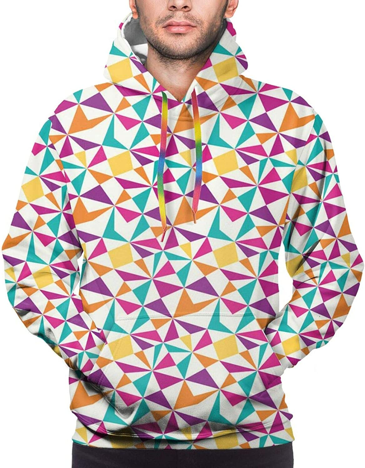 TENJONE Men's Hoodies Sweatshirts,Geometric Themed Pattern with Rounded Triangles and Squares Artsy