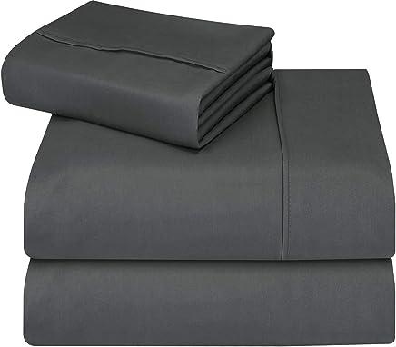 Utopia 床上用品床单套装 - 4 件套超细纤维床单套装 深灰色 两个