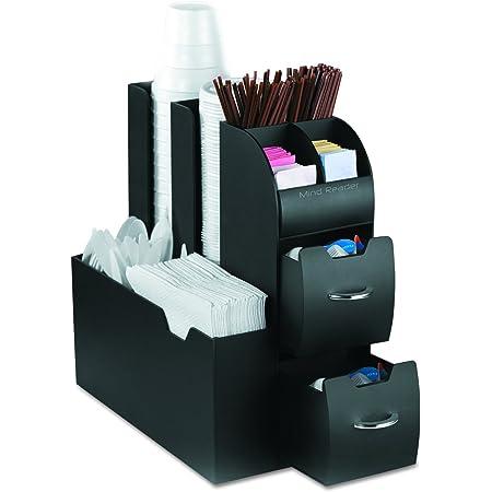 Mind Reader - Organizador de almacenamiento de condimentos para carrito de café, Negro