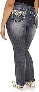 WallFlower Women`s Plus-Size Embellished Pocket Luscious Curvy Bootcut Jeans