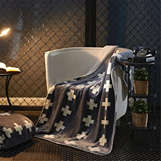 Tenghe AB Reversible Luxury Sharpa Flannel Blankets Swiss Cross Pattern Throws Soft Quilts for Bed Sofa Couch Chair (59