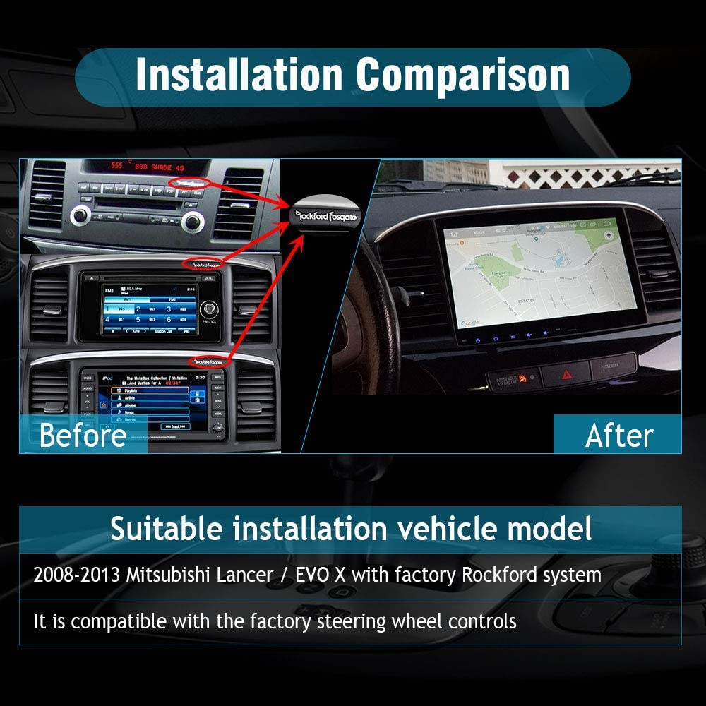 SYGAV Android Car Stereo for 2008-2013 Mitsubishi Lancer EVO X Head Unit with Carplay OEM Rockford Fosgate AMP Radio GPS Navigation