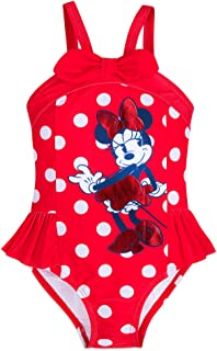 Disney Store Girls Minnie Mouse Summer Sparkler One-Piece Swimsuit Red//Blue