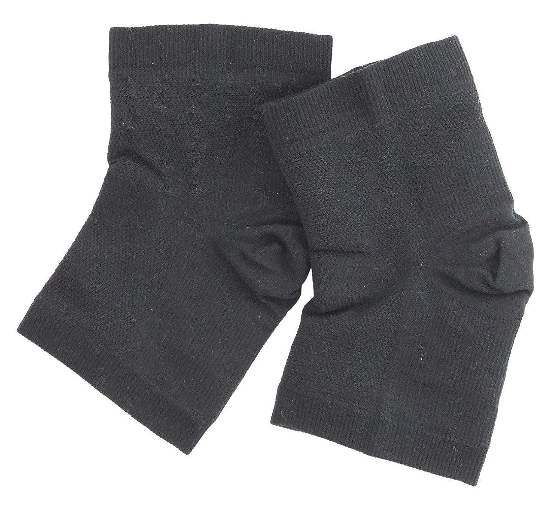 サイレント発揮する混乱した温むすび かかとケア靴下 【足うら美人潤いサポーター  フリー(男女兼用) クロ】 ひび割れ ケア