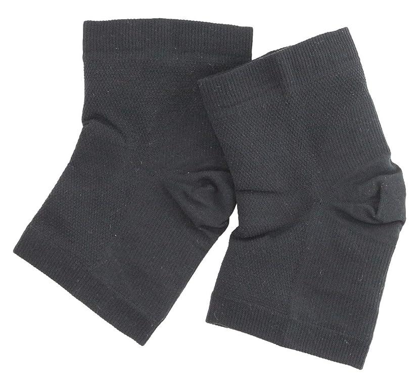 ではごきげんよう羨望すり減る温むすび かかとケア靴下 【足うら美人潤いサポーター  フリー(男女兼用) クロ】 ひび割れ ケア