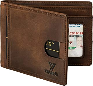 YBONNE Functional Compact RFID Blocking Bifold Wallet for Men, Made of Finest Genuine Leather