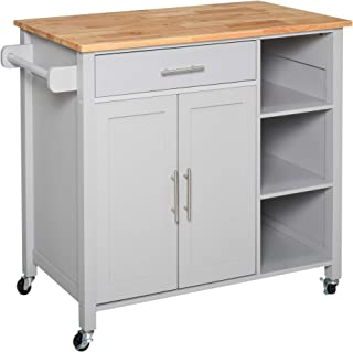 HOMCOM Wooden Rolling Kitchen Storage Island on 360° Swivel Wheels Dining Cart with Drawer for Kitchen, Grey