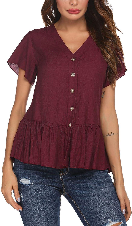 ELESOL Womens Peplum Tops Short Sleeve V Neck Casual Peplum Shirts with Button Down Summer Babydoll Blouse