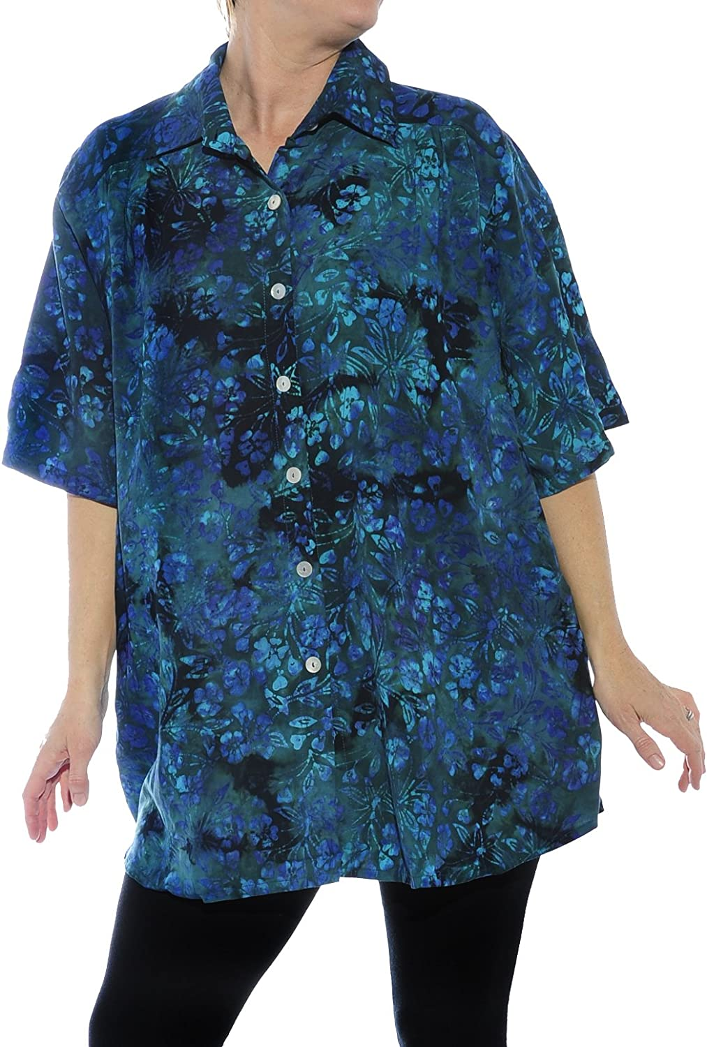 We Be Bop Womens Batik Plus Size Flora Vista New Tunic Top 0 X 1X 2 X 3X 4 X 5X 6X