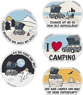 Qeedo Camping Sticker Set, 5 witzige Auto Sticker mit Camping Motive, Camping Aufkleber