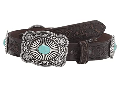 Ariat Embossed Turquoise Conchos Buckle Belt (Brown) Women