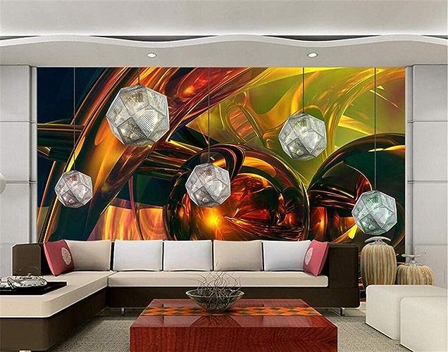 NIXI Stickers muraux Papier peint 3D Murale Moderne Abstraite Lumineuse Boule Cool Papier Peint Restaurant Spa Salon Ktv Salon Mur Art Decal Mural,250  175cm,