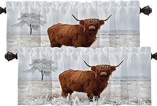 Batmerry Landscape Cow Snow Kitchen Valances Half Window Curtain, Scottish Highland Cow Kitchen Valances for Windows Livin...