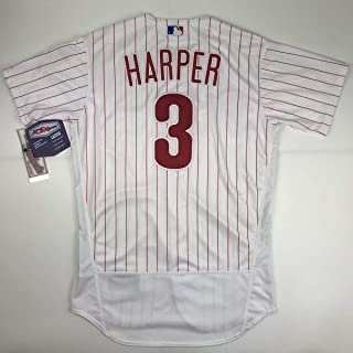 Authentic Bryce Harper Pinstripe Size 52 XXL 2XL Philadelphia Phillies Majestic Flex Base Jersey