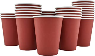 200 Pack - 12 Oz [8, 16] Disposable Hot Paper Coffee Cups - Cranberry Red (Cups Only)
