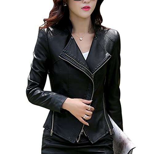 2d3d3cf5deb Tanming Women's Short Slim Slant Zip Faux Leather Moto Jacket Multiple  Colors