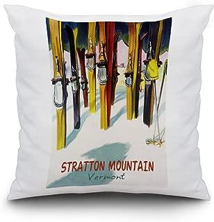 Stratton Mountain, Vermont - Colorful Skis (16x16 Spun Polyester Pillow, Custom Border)