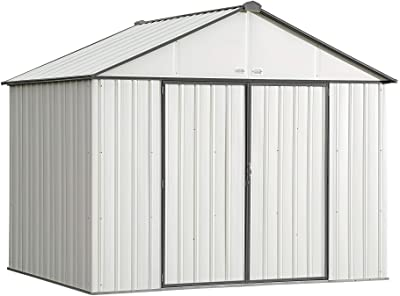 Arrow 10' x 8' EZEE Shed Cream with Charcoal Trim Extra High Gable Steel Storage Shed