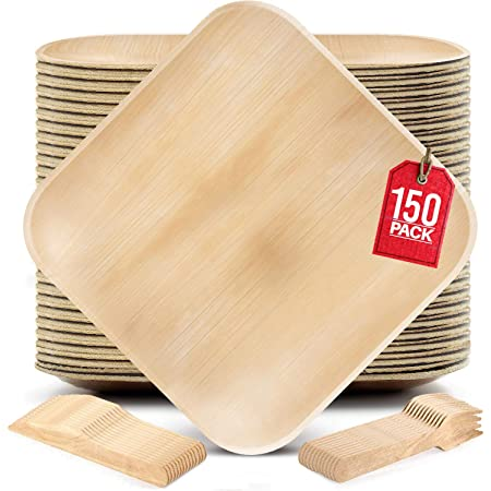 50 8 Square Palm Plates + 50 Wood Forks + 50 Wood Knives Palm Leaf Plates Party Pack Disposable Plates Eco Friendly - Durable Eco Friendly Plates Perfect for Rustic Party Decorations