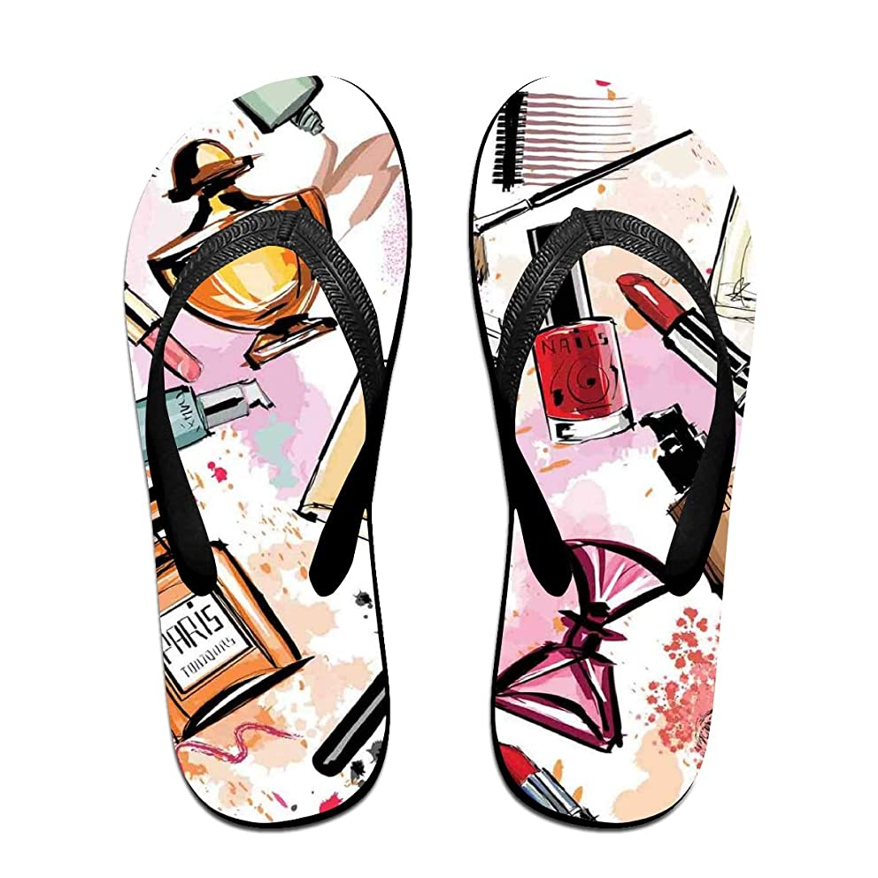 Funny Summer Flip Flop, Cosmetic and Makeup Theme Pattern with Perfume Lipstick Nail Polish Brush in Modern StyleFor Children Adults Men and Women Beach Sandals Pool Party Slippers