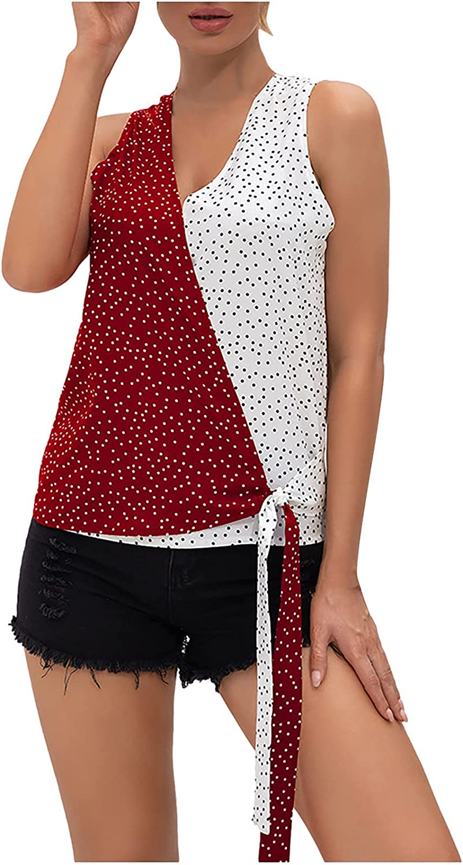 Womens Summer Tops Women's Casual Wave Point Printing V-Neck Sleeveless Vest T-Shirt Tops Juniors Girls