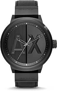 AX Men's Black Leather Watch AX1366