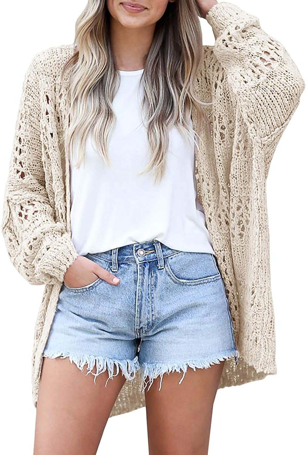 Gnpolo Lightweight Summer Cardigan for Women Spring Netted Crochet Cardigans Sweaters