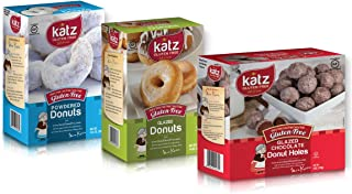 Katz Gluten Free Variety Pack | 1 Glazed Donuts, 1 Powdered Donuts, 1 Glazed Chocolate Donut Holes | Dairy Free, Nut Free, Soy Free, Gluten Free | Kosher (1 Pack of each)
