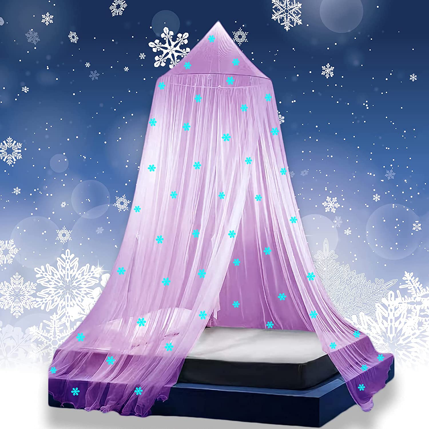 Princess Girls Bed Canopy with Glow in The Dark Snowflakes, Freezing Bed Canopy for Girls Room Decor by Eimilaly, Encrypted Fabric, Pink