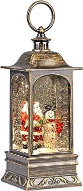 Heasylife Lanterne boule à neige de Noël avec eau tourbillonnante pour décoration de Noël et cadeau (famille de bonhomme de n
