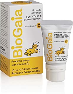 BioGaia Probiotics Drops With Vitamin D for Baby, Infants, Newborn and Kids Colic, Spit-Up, Constipation and Digestive Comfort, #1 Pediatrician Recommended Probiotic for Colic,10 ML