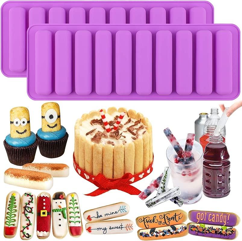 Funshowcase Rectangle Oblong Chocolate Cracker Bar Stick Block Ice Cube Jelly Tray Cylinder Silicone Candy Mold 2 Bundle Random Color