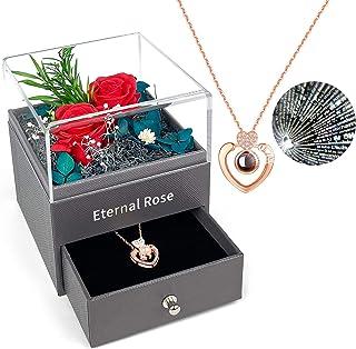 Forever Rose, PTN Eternal Rose met I Love You Ketting in 100 talen, echte Rose geschenkdoos, handgemaakte geconserveerde r...