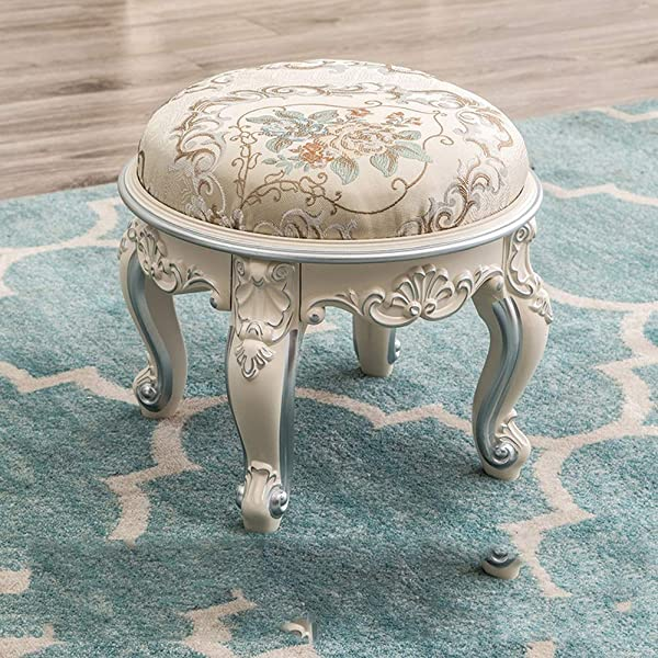 European Round Embroidery Luxury Makeup Stool Coffee Table Stool Carved Shoe Bench Home Living Room Small Stool Color Silver Size S