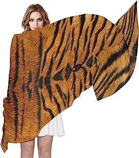 AUUXVA Animal Tiger Skin Print Women Silk Scarf Lightweight Long Soft Chiffon Shawl Wrap Neck Scarves Muffler for Ladies G...