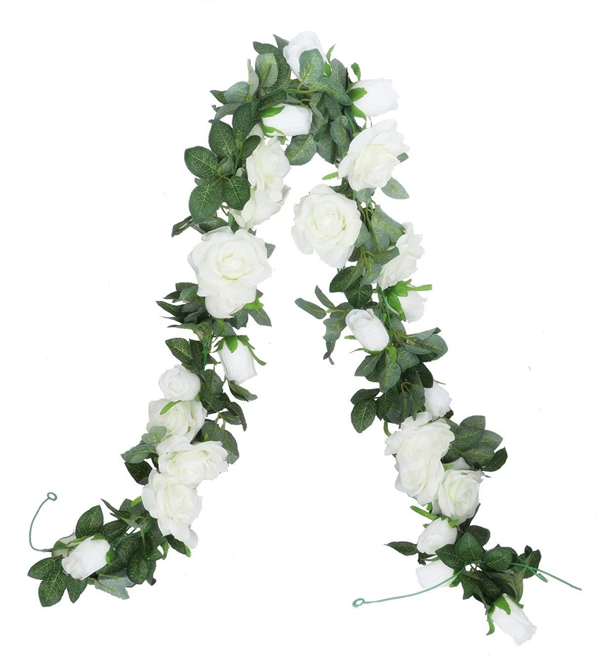 フェデレーションええ開発Anlise 6.6フィート 造花 バラのつる フェイクシルクガーランド 吊り下げ バラのアイビー植物 ホテル ウェディング ホームパーティー ガーデン クラフト アートデコ 2個パック ホワイト