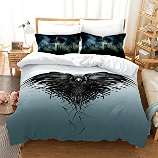 ZI TENG 3D Game of Thrones Duvet Cover Set Game of Thrones Latest Movie Bedding Set 100% Polyester Kids Teenagers Adult Bed Set,3pcs 1 Duvet Cover 2 Pillowcase Twin Full Queen King