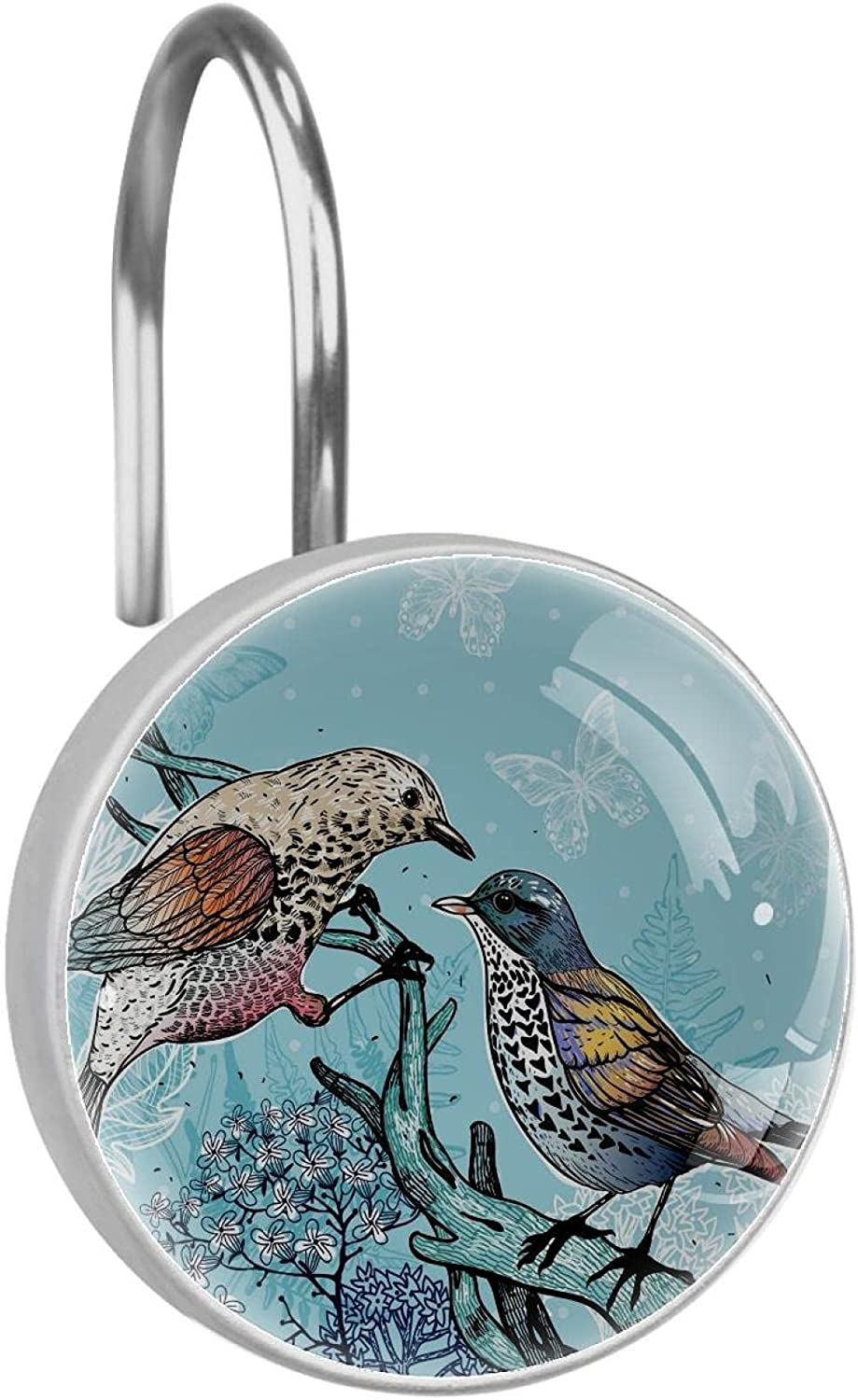 Stainless Steel Anti-rustShower Now free shipping outlet Curtain Forest Birds Ring Butter