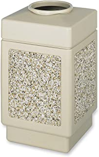 Safco Products Canmeleon Outdoor/Indoor Aggregate Panel Trash Can 9471TN, Tan, Natural Stone Panels, 38 Gallon Capacity