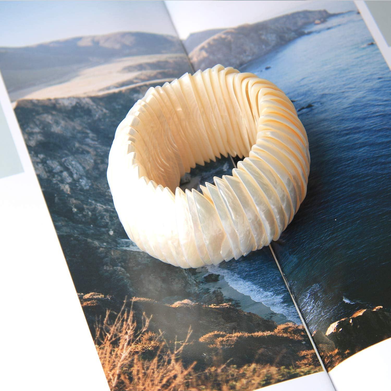 KELITCH Women Natural Seashell Cuff Bracelets Beach Leopard Shell Beaded Strand Bracelets Adjustable Stretch Bracelets