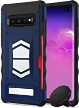 Zizo Electro Series Compatible with Samsung Galaxy S10 Plus with Card Slot and Air Vent Magnetic Holder Dark Blue Black