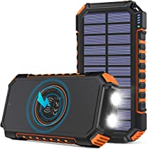 Wireless Solar Charger 26800mAh, Riapow Portable Charger with 4 Outputs & LED Flashlight, External Battery Pack USB C Quic...