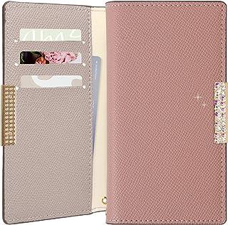 OPPO A54 5G ケース OPG02 手帳型 かわいい バイカラー ストーン 大人 スタンド マグネットなし カバー (ピンク×グレー) SIMフリー