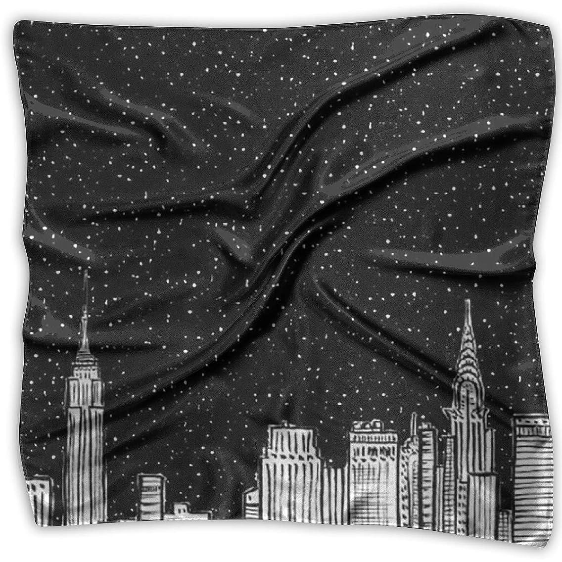 Square Satin Scarf City Night Silk Like Lightweight Bandanas Head Wrap Neck Shawl Headscarf