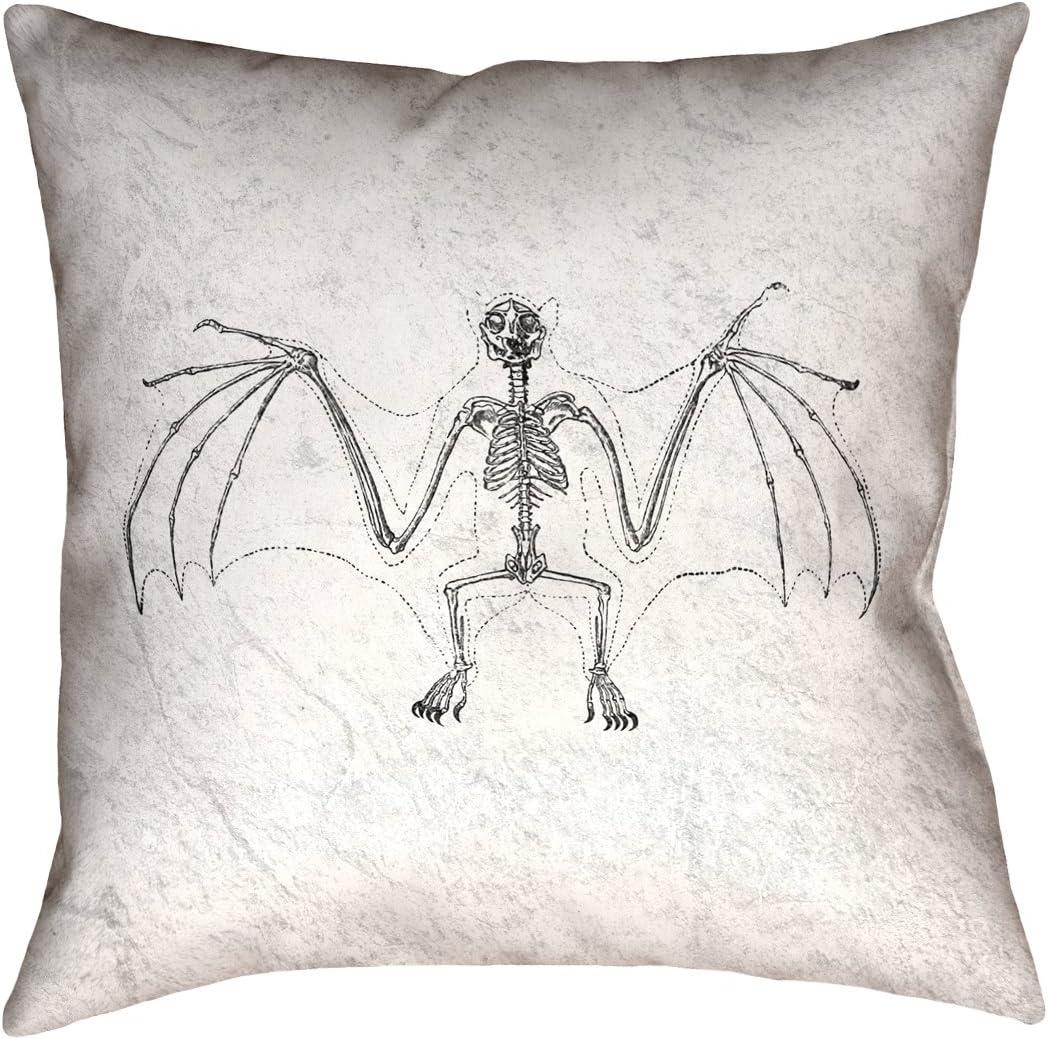 ArtVerse Katelyn Smith 36 x 36 Floor Double Sided Print with Concealed Zipper /& Insert Vintage Bat Skeleton Pillow