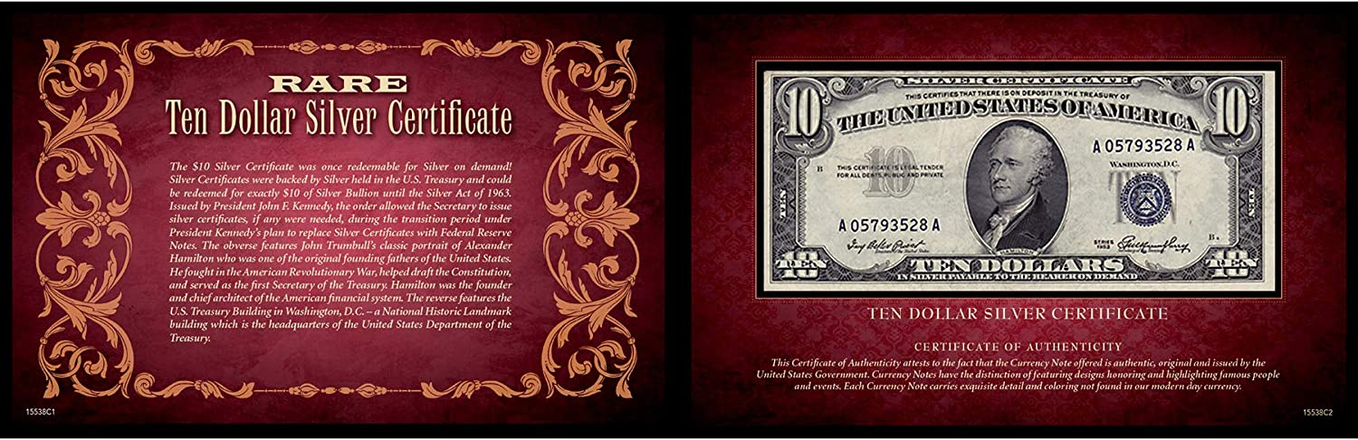 Ten Dollar Silver Certificate 5x8 States Ge Be super welcome Portfolio Sale Special Price United
