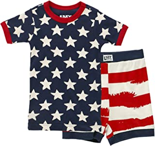 Lazy One Short Sleeve Tee and Short Summer PJ Sets for Girls and Boys   Kids Pajama Sets