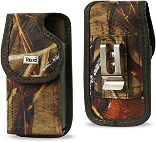 Rugged Camouflage Heavy Duty Canvas Vertical Metal Clip Case fits Kyocera Verve.