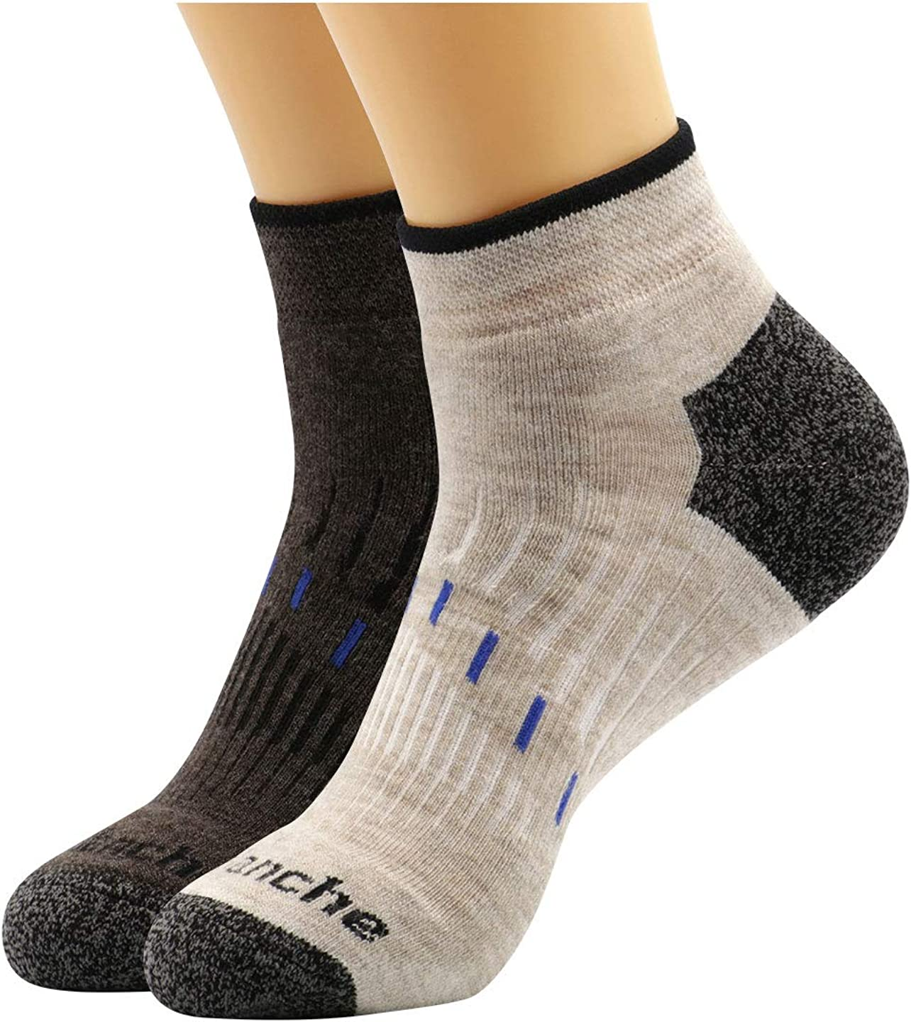 Avalanche Men's Quick Drying Merino Wool Blend Low Cut Socks With Arch Support 2-Pack